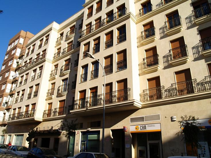 Caramel limestone, exterior covering of buil in Madrid, Spain.
