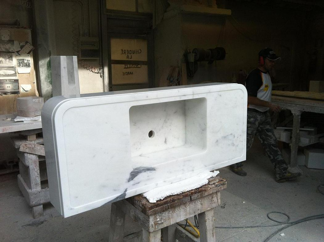 Solid statuary marble sink, finished