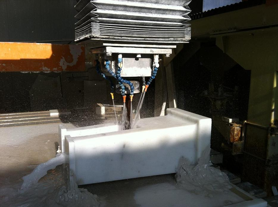 Cuts in solid piece of statuary marble for to make the base of the solid sinks