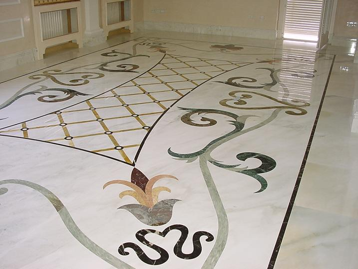 Special floor with design in cremo delicato and others colours