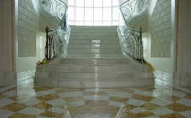 stair and floor with special design in Calacatta Gold, Giallo Siena and more